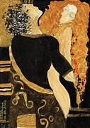 Figures Painting Framed Prints - Meeting Gustav Klimt  Framed Print by Maya Manolova
