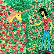 Meeting In The Rose Garden Print by Sushila Burgess