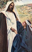 Corwin Paintings - Meeting of Jesus and Martha by Corwin Knapp Linson