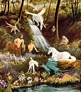 Faun Painting Posters - Meeting of Myths Poster by Barbara Walker