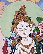 Meditation Tapestries - Textiles - Meeting White Tara by Leslie Rinchen-Wongmo