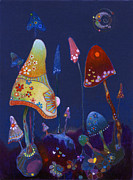 Colored Pencil Metal Prints - Meewees Shrooms Metal Print by Bernie  Lee