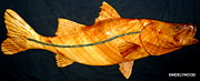 Carving Sculpture Metal Prints - Mega Snook Fish Metal Print by Douglas Snider