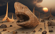 Animal Sculpture Digital Art Posters - Megalodon Desert Poster by Mark Stevenson