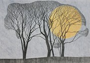 Bare Trees Drawings Metal Prints - Megamoon Metal Print by Ann Brain
