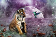 Tiger Cub Posters - Megan Molly and the Moon Poster by Julie L Hoddinott