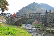 Arch Bridge Photos - Megane-bashi Bridge At Akitsuki by Shigeon