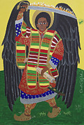 Black History Paintings - Mekelle The Protector by Derek Perkins