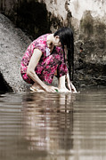 Hair-washing Photo Prints - Mekong Delta life Print by Iris Van den Broek
