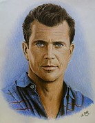 Star Drawings Posters - Mel Gibson Poster by Andrew Read