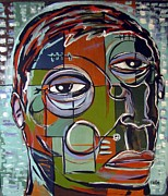 Folk Art Mixed Media Posters - Melancholy Man Poster by Robert Wolverton Jr