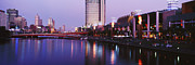 Office Space Prints - Melbourne and the Yarra River at Dusk Print by Jeremy Woodhouse