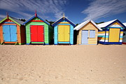 In A Row Art - Melbourne Beach Huts In Australia by Timphillipsphotos