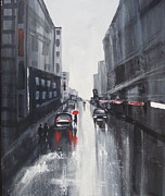 Streetscape Paintings - Melbourne Night Lights by Estelle  Wicks