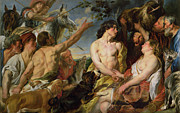 Men And Women Paintings - Meleager and Atalanta by Jacob Jordaens