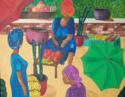 Mangos Paintings - Melee In The Market by Dixie Lee Hedrington