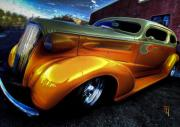 Artwork Digital Art Digital Art - Mellow Yellow Coupe by Byron Fli Walker