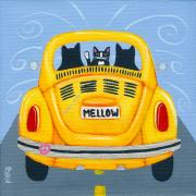 Road Trip Painting Framed Prints - Mellow Yellow VW Framed Print by Ryan Conners