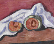 Table White Framed Prints - Melons Framed Print by Marsden Hartley