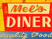 Signage Digital Art Framed Prints - Mels Diner Framed Print by Wingsdomain Art and Photography