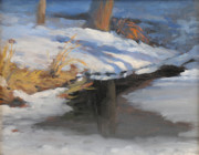 Snowscape Paintings - Melting Ice on the Pond by Susan Hope Fogel