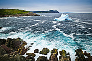 Drifting Snow Metal Prints - Melting iceberg in Newfoundland Metal Print by Elena Elisseeva