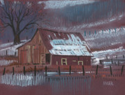 Barn Pastels Prints - Melting Snow Print by Donald Maier