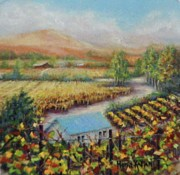 California Vineyard Pastels - Melvilles Tasting Room by Denise Horne-Kaplan
