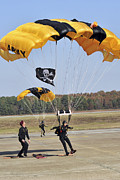 Members Of The Golden Knights Parachute Print by Stocktrek Images