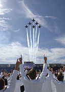 Jet Trails Posters - Members Of The U.s. Naval Academy Cheer Poster by Stocktrek Images