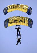 Navy Blue Framed Prints - Members Of The U.s. Navy Parachute Framed Print by Stocktrek Images