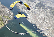 High Altitude Flying Art - Members Of The U.s. Navy Parachute Team by Stocktrek Images