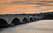 Sunset Framed Prints Framed Prints - Memorial Bridge I Framed Print by Steven Ainsworth