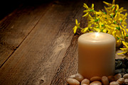 Forsythia Photos - Memorial Candle by Olivier Le Queinec