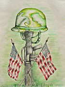 Memorial Day Drawings Prints - memorial Day Print by Thuraya R