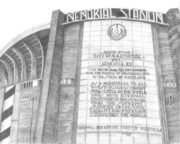 Baseball Parks Drawings - Memorial Stadium by Juliana Dube