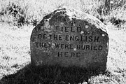 Battlefield Site Photo Posters - memorial stone for the dead english on Culloden moor battlefield site highlands scotland Poster by Joe Fox