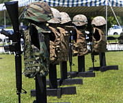 Camouflage Photos - Memorials Of Flak Jackets by Stocktrek Images