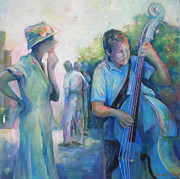 Musical Notes Painting Originals - Memories -  Woman Is Intrigued By Musician.  by Susanne Clark