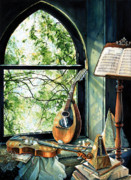 Mandolin Posters - Memories And Music Poster by Hanne Lore Koehler