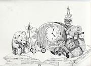 Clock Hands Drawings Prints - Memories Are Made Of This Print by Meldra Driscoll