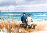 Couple Painting Prints - Memories Print by Art Scholz