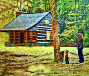 Log Cabins Digital Art Prints - Memories of Mama And Me  Print by Deborah