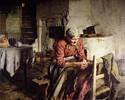 Old Age Painting Prints - Memories Print by Walter Langley
