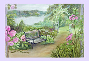 East Hampton Painting Framed Prints - Memory Garden at Lake Pocotopaug Framed Print by Katherine  Berlin
