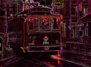 Beale Photos - Memphis Neon Streetcar in Rain by Don Wolf