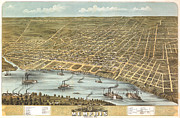 Vintage Map Digital Art Prints - Memphis Tennessee 1870 Print by Donna Leach