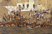 Ganga Photos - Men And Boys Bathe At An Ancient Ghat by Jason Edwards