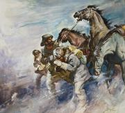 Heading Out West Prints - Men and Horses Battling a Storm Print by James Edwin McConnell