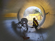 Water Line Photos - Men at Work by Heiko Koehrer-Wagner